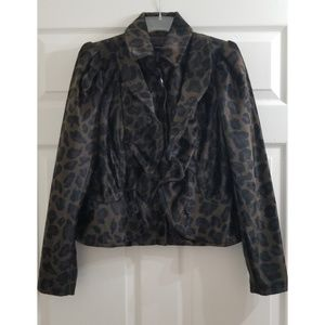 🆕️INC Leopard print Jacket Coat Zip Up w/ Ruffle